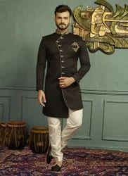 ea39432d54 Indowestern Black Wedding Wear Jacquard Designer Sherwani
