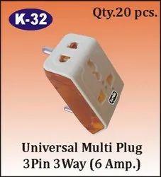 K-32 Universal 3 Pin 3 Way Multi Plug
