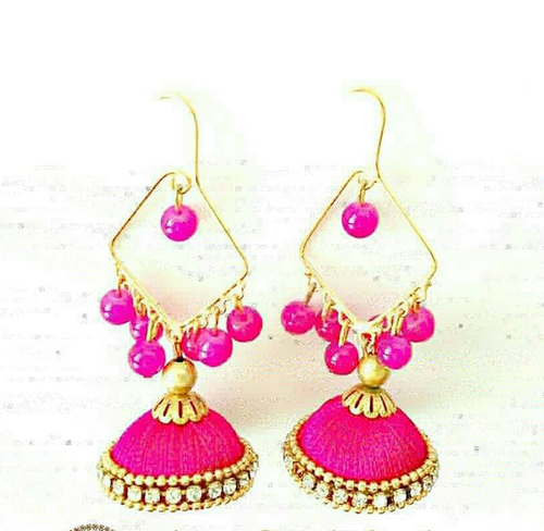 Silk And Stones Pink Earrings