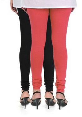 c791fcef4e67ae Cotton Pack Of 2 Churidar Leggings In Rose Red And Black, Size: Free Size