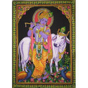 Indian Consigners Cotton Krishna Wall Hanging Poster, For Decoration, Size: 40x30 Inch
