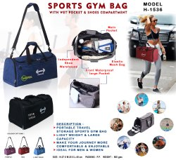 Polyster Black Sports Gym Bag, 27*25*48cm