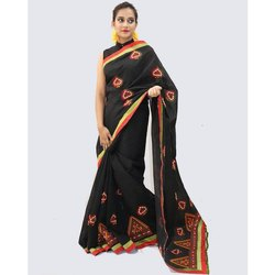 DRAPEUP Party Wear Ladies Half and Half Chanderi Cotton Embroidered Saree, 6 Meter