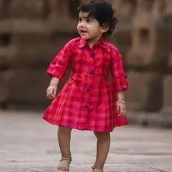 Festive Wear Pink Checked Silk Dress