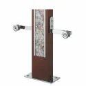 Brown Finish Designer Wooden Glass Pillar