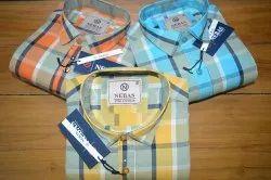 Nebas Casual Wear Mens Fancy Cotton Check Shirt, Handwash