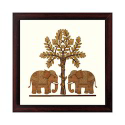Wooden Elephant Painting Pictures Frame