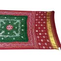 Red And Green Color Fancy Design Gaji Silk Bandhani Dupatta