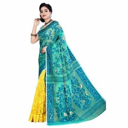 5.5 meter Festive Wear Ladiers Designer Handloom Cotton Sarees, With Blouse Piece