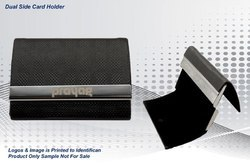 Black Leather Dual Side Card Holder