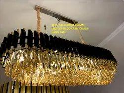 Cylindrical Hanging 1015 -625-600MM-250MM-LED3CLR-BK GD Crystals Chandelier