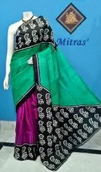 Mitras' Party Wear Block Printed Silk Saree, 6.5 m ( with Blouse Piece )
