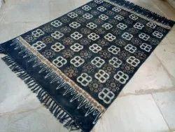 Indigo Blue Floral Hand Block Bagru Sanganeri Printed Room Rug, Floor Rug, Mat, Carpet