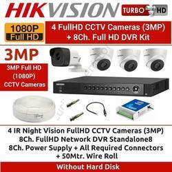 Hikvision 3MP 4CH Turbo HD DVR with 3 Dome & 1 Bullet Camera Full Combo Kit