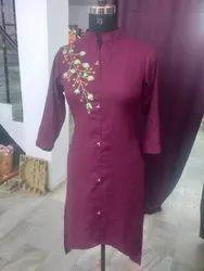 Rayon Sherwani Style Plain Solid Ethnic Kurti