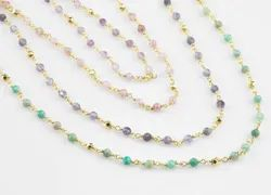 Gemstone With Gold Pyrite Round Bead Rosary Chains