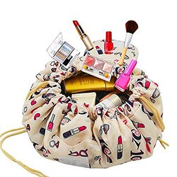 Packnbuy Round Cosmetic Makeup Foldable Travel Bag Pouch -Foldable Cosmetic Pouch