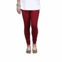 Maroon Cotton Lycra V-Cut Churidar Leggings