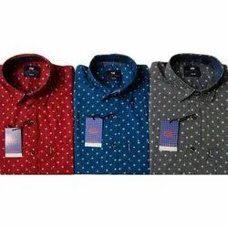 Polka Dot Mens Cotton Dotted Print Shirt, Size: S-xxl
