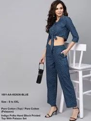 Polka Hand Block Printed Top with Palazzo Set