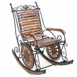 Brown Iron & Wood Rocking Chair