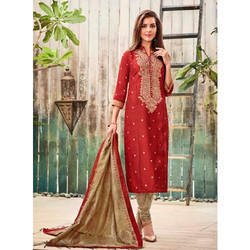 3/4th Sleeves Cotton Red Embroidered Suit