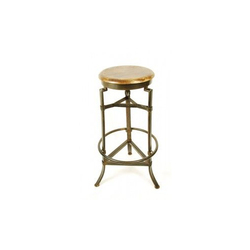 Brass Fitted Iron Stool