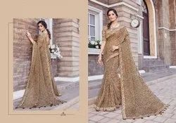 Linen Cotton Traditional Party wear Sarees, Length: 6.3 m