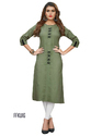 Cotton 3/4th Sleeve Green Party Wear Kurti