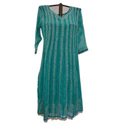 Cotton Chikankari Green Anarkali Kurti, Size: M, L & XL