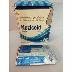 Paracetamol , CPM , Caffeine & Phenylephrine HCL Tablets(Nozicold)