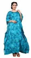 Sky Blue Color Printed Cotton Kaftan For Women