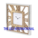 Quartz Roman Wooden Dial Square Shape Decorative Wall Clock