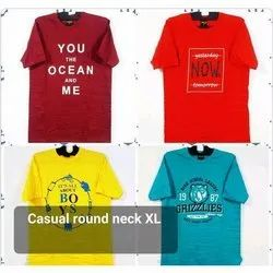 Cotton Half Sleeve Mens Casual Round Neck Printed T Shirt