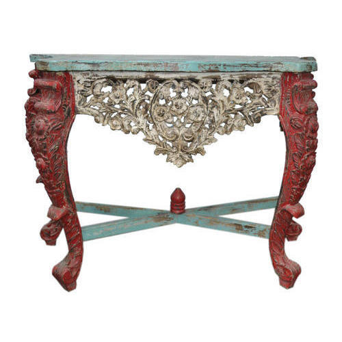 Wooden Carved Console Table For Home