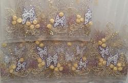 Fancy Pearl Embroidered Net Fabric