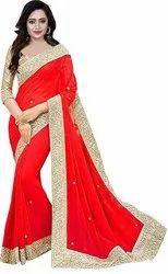 Women''s Chiffon Saree With Blouse Piece