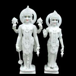 White Marble Lakshmi Narayana Statue