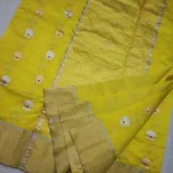 Wedding Yellow Chanderi Pattu Silk Saree, 6.5 Meter, Hand Made