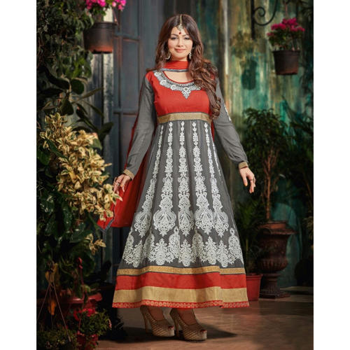 d862ac22f44 Semi Stitched Georgette Grey Anarkali Suit at Rs 1449  piece