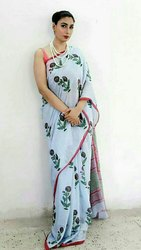 Blue Block Print Saree