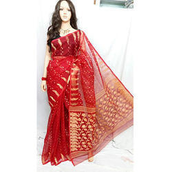 Red Jamdani Saree, With Blouse Piece