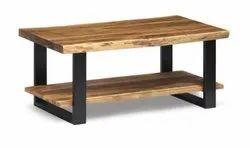 Modern Teak Wooden Iron Table, Size: 2x2