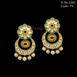Traditional Meenakari Kundan Earrings