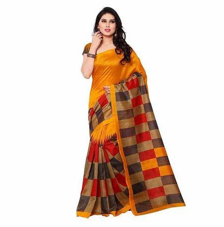 30d1336424696 Women Silk Saree - Buyonn Women s Self Design Woven Kanjivaram Cotton Silk  Banarasi Saree with Blouse (Multi Manufacturer from Surat
