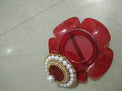 Red Designer Haldi Kumkum Holder