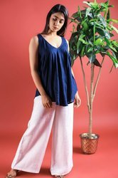 Blue Top With Cotton White Linen Slub Palazzo Pant