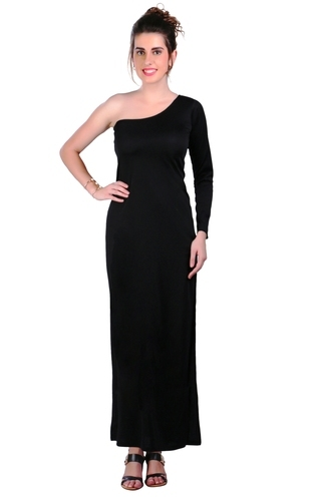 93706ea3aba0 Polyester Black Off Shoulder Evening Gown