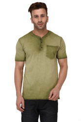 100% Cotton Men Short Sleeve Dyed T-Shirt For Wholesale