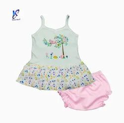 BABY GIRLS SLEEVELESS FROCK WITH PANT